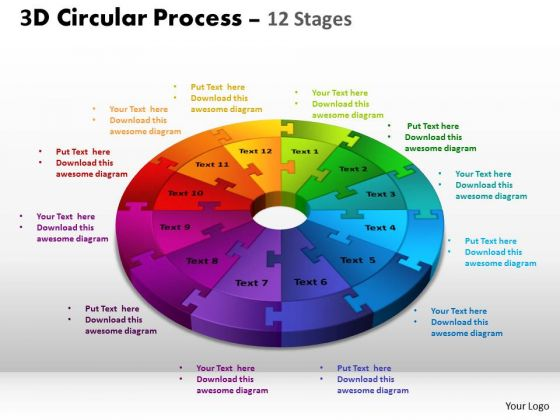 Sales Diagram 3d Circular Process Cycle Diagram Chart 12 Stages Strategic Management