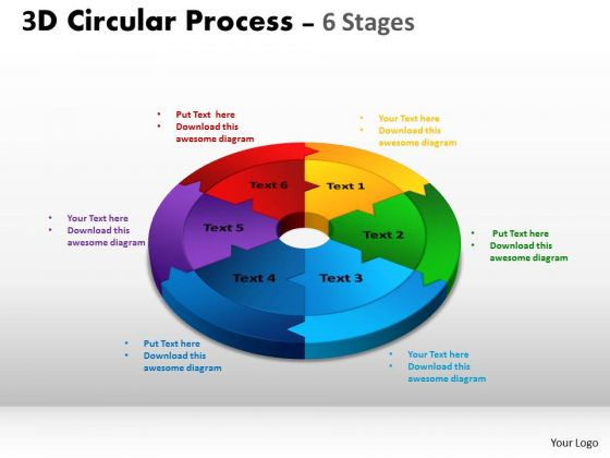 Sales Diagram 3d Circular Process Cycle Diagram Chart 6 Stages Consulting Diagram