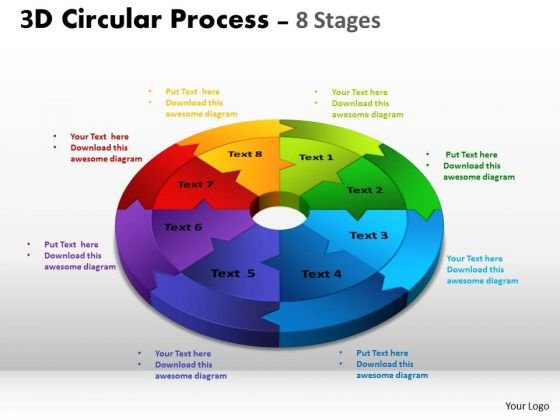 Sales Diagram 3d Circular Process Cycle Diagram Chart 8 Stages Design 2 Strategic Management