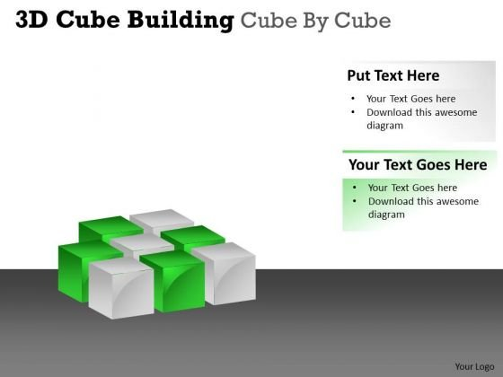 Sales Diagram 3d Cube Building Cube By Cube Business Diagram