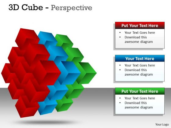 Sales Diagram 3d Cube Perspective Marketing Diagram