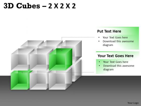 Sales Diagram 3d Cubes 2x2x3 Business Diagram