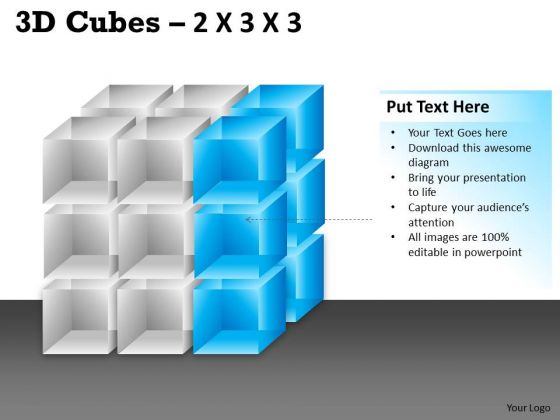 Sales Diagram 3d Cubes 2x3x3 Marketing Diagram