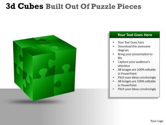Sales Diagram 3d Cubes Built Out Of Puzzle Pieces Business Diagram