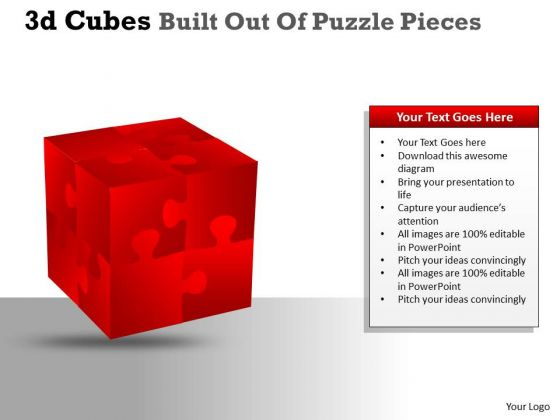 Sales Diagram 3d Cubes Built Out Of Puzzle Pieces Consulting Diagram