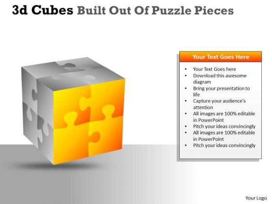 Sales Diagram 3d Cubes Built Out Of Puzzle Pieces Marketing Diagram