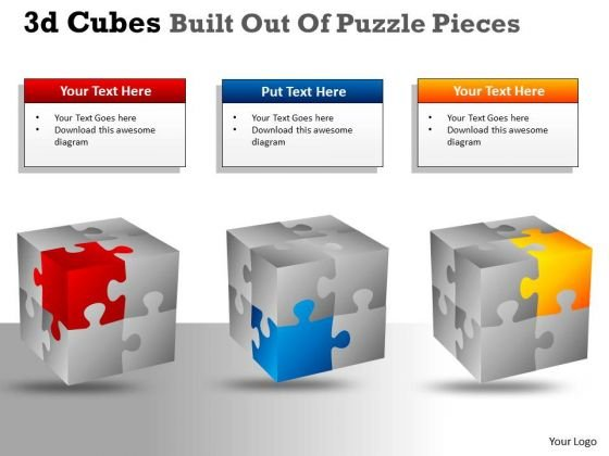Sales Diagram 3d Cubes Built Out Of Puzzle Pieces Mba Models And Frameworks