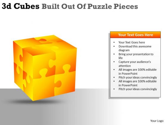 Sales Diagram 3d Cubes Built Out Of Puzzle Pieces Strategy Diagram