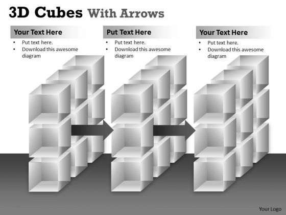 Sales Diagram 3d Cubes With Arrows Marketing Diagram
