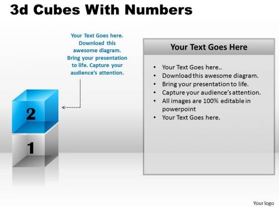 Sales Diagram 3d Cubes With Numbers Marketing Diagram