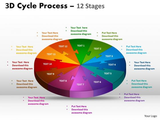 Sales Diagram 3d Cycle Process Flow Chart 12 Stages Mba Models And Frameworks