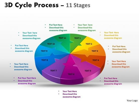 Sales Diagram 3d Cycle Process Flow Diagram Chart 11 Stages Strategy Diagram