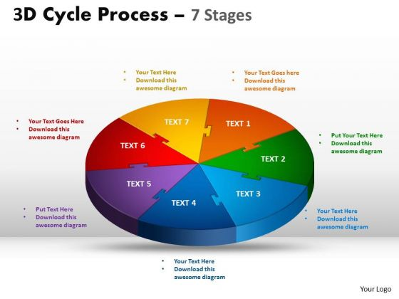 Sales Diagram 3d Cycle Process Templates Flow Diagram Chart 7 Stages Strategy Diagram
