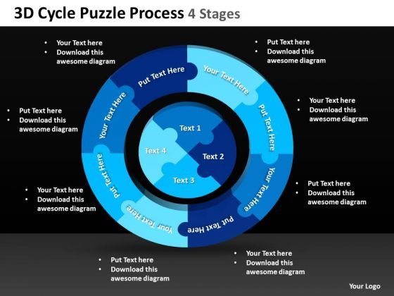 Sales Diagram 3d Cycle Puzzle Process 4 Stages 2 Strategy Diagram