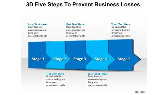 Sales Diagram 3d Five Steps To Prevent Business Losses 7 Business Diagram