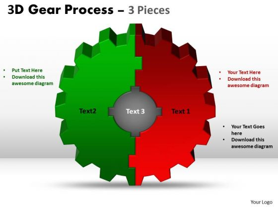 Sales Diagram 3d Gear Process 3 Pieces Style Marketing Diagram