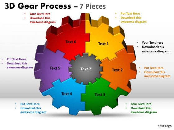 Sales Diagram 3d Gear Process 7 Pieces Style Business Diagram