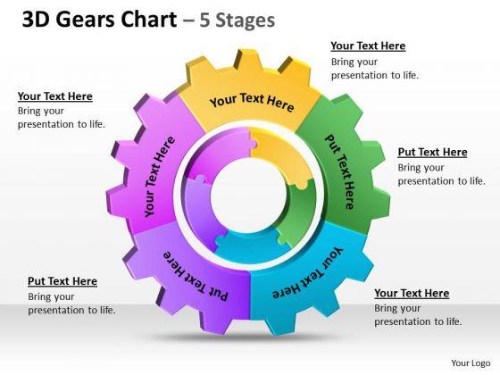 Sales Diagram 3d Gears Chart 5 Stages Strategic Management
