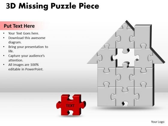 Sales Diagram 3d Home H Missing Puzzle Piece Consulting Diagram