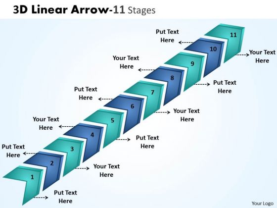 Sales Diagram 3d Linear Arrow 11 Stages Strategy Diagram