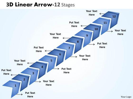Sales Diagram 3d Linear Arrow 12 Stages Marketing Diagram