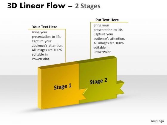Sales Diagram 3d Linear Flow 2 Stages