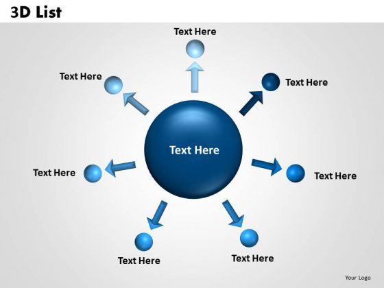 Sales Diagram 3d List Circular Diagram Business Diagram