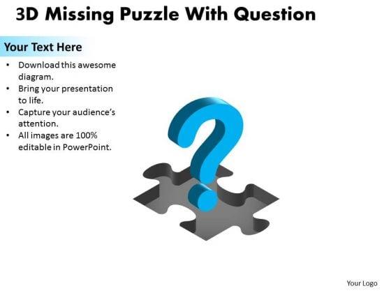 Sales Diagram 3d Missing Puzzle Piece Question Business Finance Strategy Development