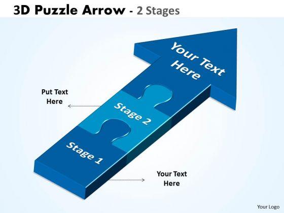 Sales Diagram 3d Puzzle Arrow 2 Stages Business Finance Strategy Development