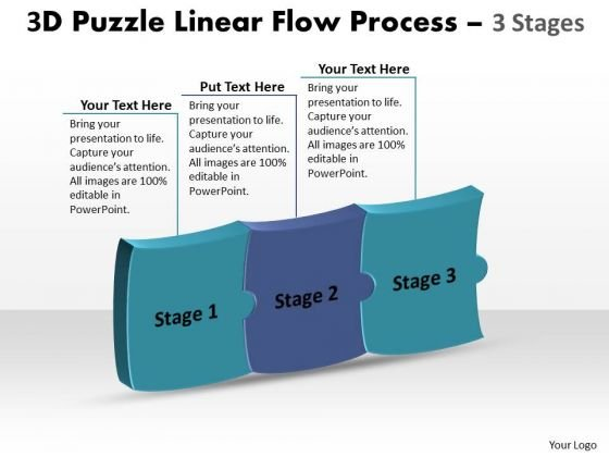 Sales Diagram 3d Puzzle Linear Flow Process 3 Stages Consulting Diagram