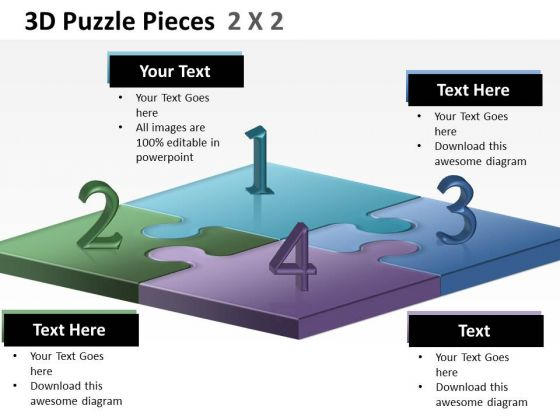 Sales Diagram 3d Puzzle Pieces 2x2 Consulting Diagram