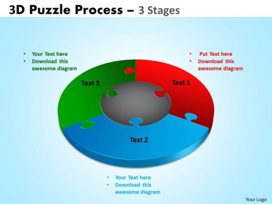 Sales Diagram 3d Puzzle Process Diagram 3 Stages Consulting Diagram
