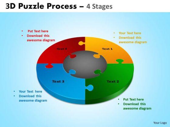 Sales Diagram 3d Puzzle Process Diagram 4 Stages Strategic Management