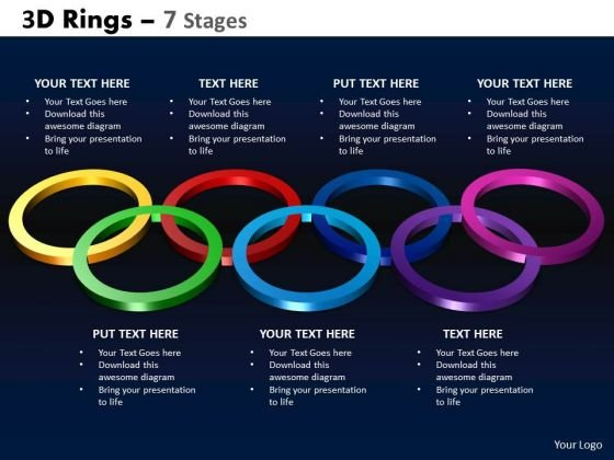 Sales Diagram 3d Rings 7 Stages Consulting Diagram