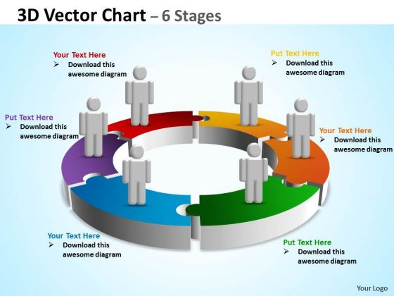 Sales Diagram 3d Vector Chart 6 Stages Consulting Diagram