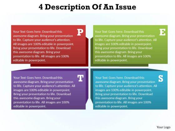 Sales Diagram 4 Description Of An Issue Business Diagram