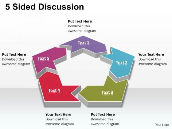 Sales Diagram 5 Sided Discussion Marketing Diagram