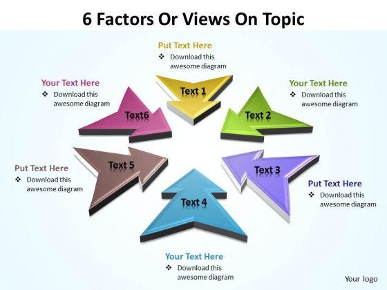 Sales Diagram 6 Factors Or Views On Topic Editable Strategy Diagram