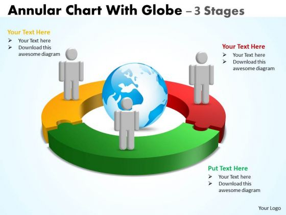 Sales Diagram Annular Chart With Globe 3 Stages Business Framework Model