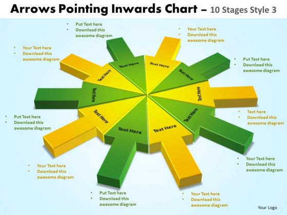Sales Diagram Arrows Pointing Inwards Chart 10 Stages Business Diagram