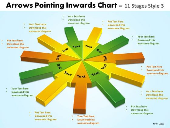 Sales Diagram Arrows Pointing Inwards Chart 11 Stages Business Diagram
