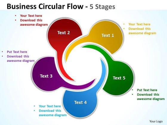Sales Diagram Business Circular Flow 5 Stages Marketing Diagram
