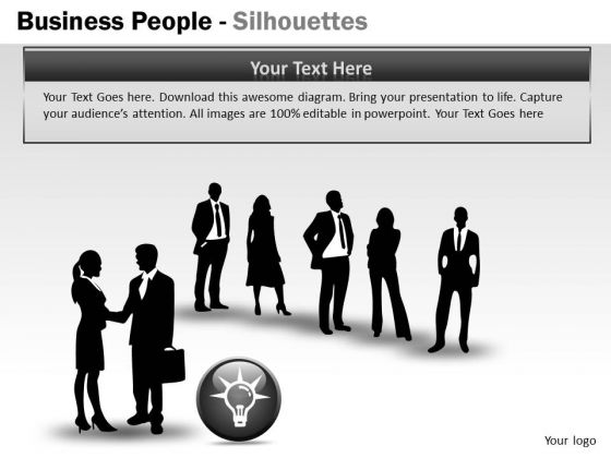 Sales Diagram Business People Silhouettes Business Diagram