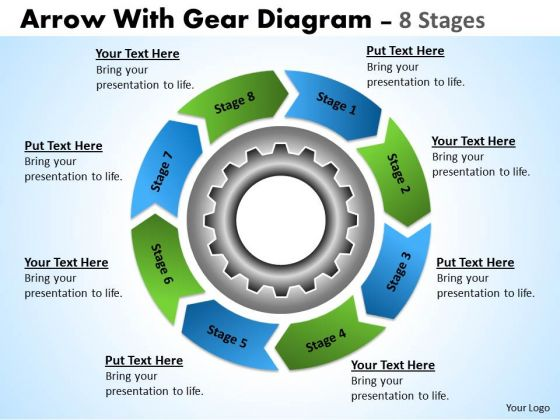 Sales Diagram Business Planning Process With Gears And Circular Arrows 8 Stages Strategy Diagram