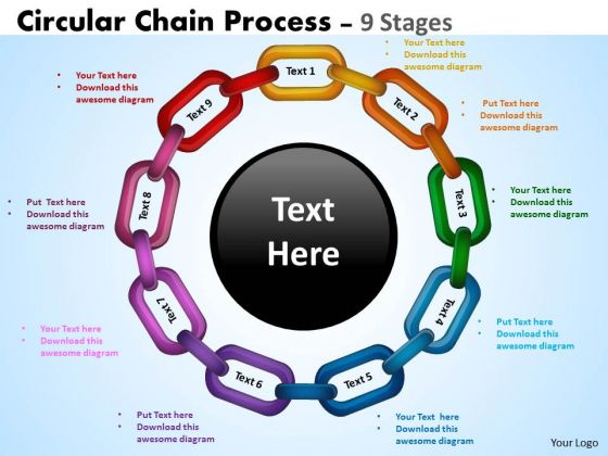 Sales Diagram Circular Chain Flowchart Process Diagram 9 Stages Consulting Diagram