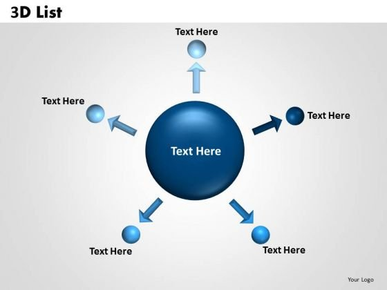 Sales Diagram Circular Five 3d List Business Diagram