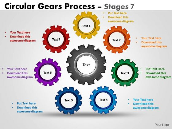 Sales Diagram Circular Gears Flowchart Process Stages Strategic Management