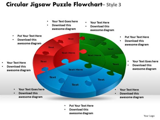 Sales Diagram Circular Jigsaw Puzzle Flowchart Process Diagram Style 6 Strategy Diagram