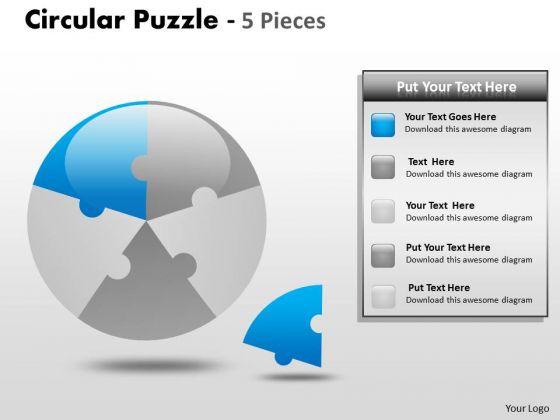 Sales Diagram Circular Puzzle 5 Pieces Consulting
