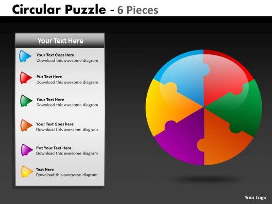 Sales Diagram Circular Puzzle 6 Pieces Consulting Diagram